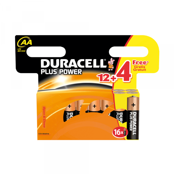 Duracell Plus Power paquet de 12+4 AA